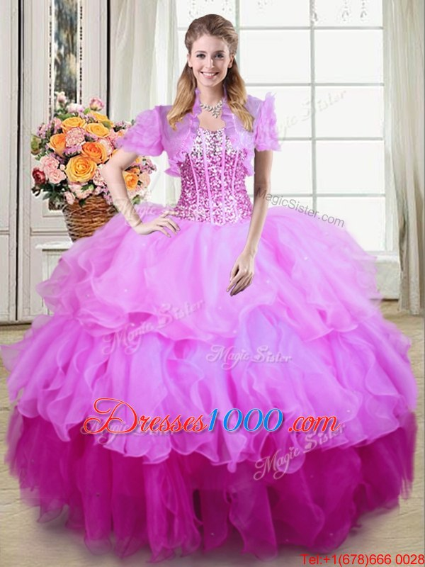 Multi-color Sleeveless Ruffles and Sequins Floor Length Sweet 16 Quinceanera Dress