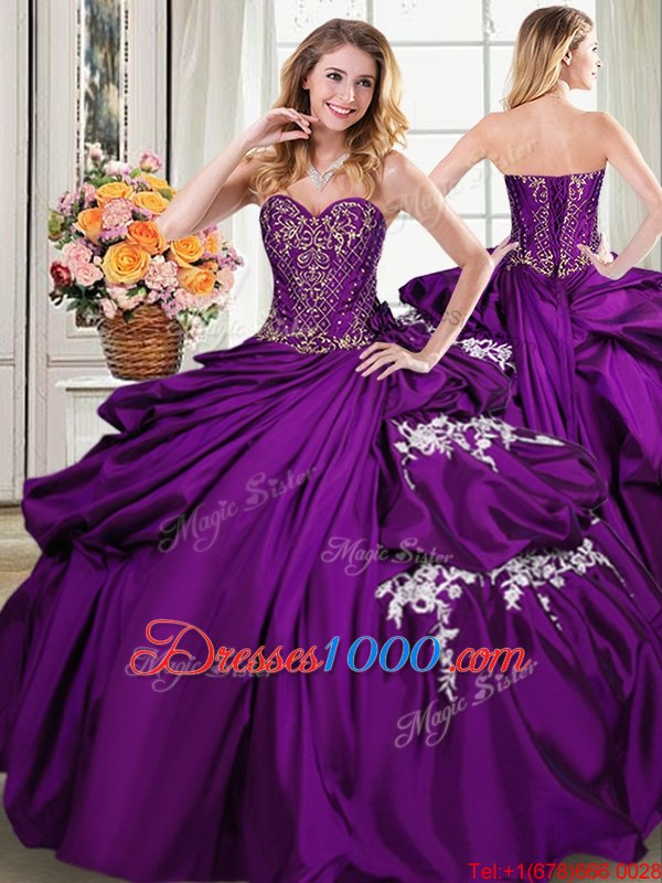 Floor Length Purple Ball Gown Prom Dress Taffeta Sleeveless Beading and Appliques and Pick Ups