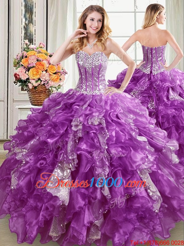 Most Popular Purple Ball Gowns Sweetheart Sleeveless Organza Floor Length Lace Up Beading and Ruffles and Sequins 15th Birthday Dress