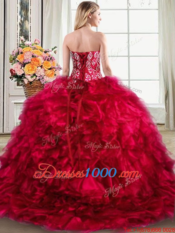 Red Sleeveless Brush Train Beading and Ruffles Vestidos de Quinceanera