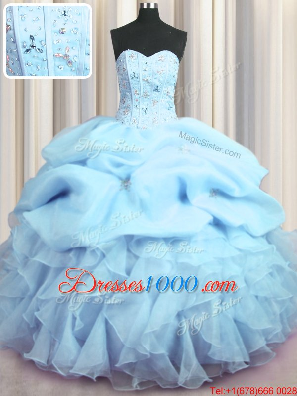 Visible Boning Floor Length Lace Up Vestidos de Quinceanera Baby Blue and In for Military Ball and Sweet 16 and Quinceanera with Beading and Ruffles and Pick Ups