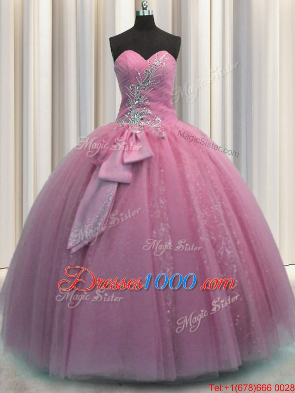 Customized Floor Length Lace Up 15 Quinceanera Dress Rose Pink and In for Military Ball and Sweet 16 and Quinceanera with Beading and Sequins and Bowknot