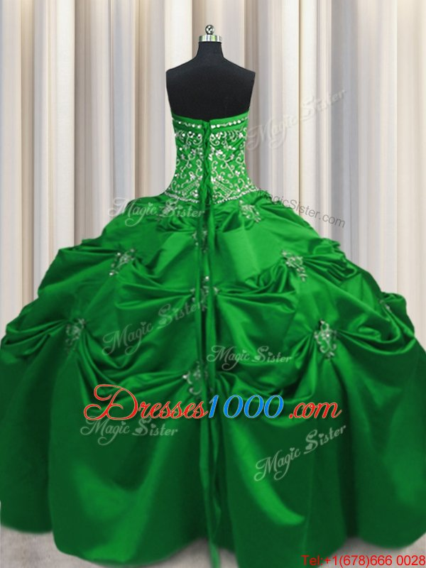 On Sale Beading and Appliques and Embroidery Sweet 16 Dress Green Lace Up Sleeveless Floor Length
