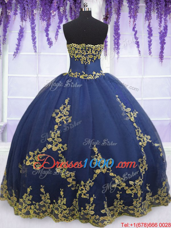 Flirting Navy Blue Sleeveless Appliques Floor Length Quinceanera Gown
