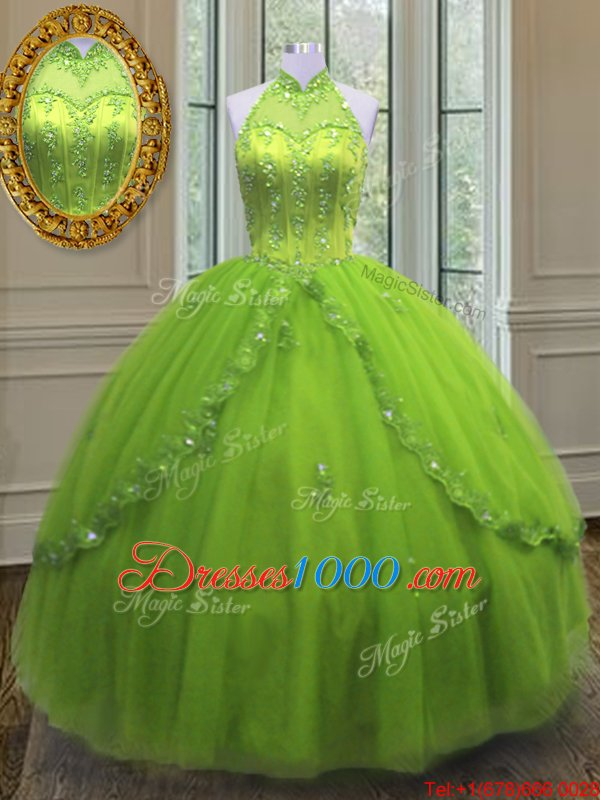 Yellow Green High-neck Neckline Beading and Appliques Sweet 16 Dress Sleeveless Lace Up