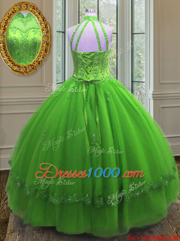 Halter Top Neckline Beading and Appliques 15 Quinceanera Dress Sleeveless Lace Up
