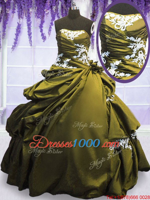 Eye-catching Sleeveless Floor Length Appliques and Pick Ups Lace Up Quince Ball Gowns with Olive Green