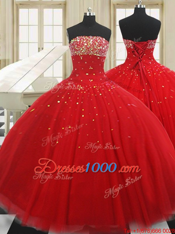 Strapless Sleeveless Tulle 15 Quinceanera Dress Beading Lace Up