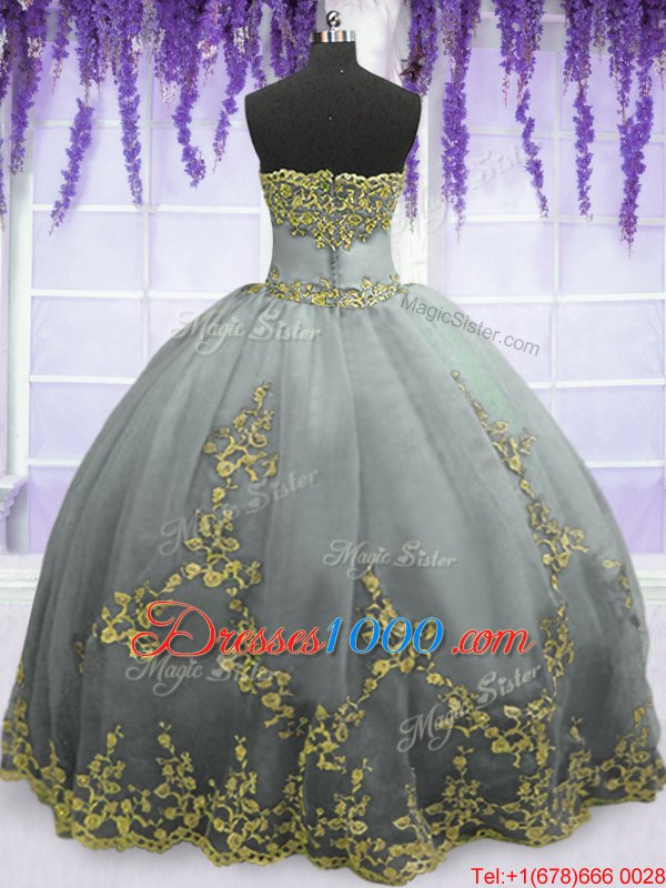 Traditional Appliques Sweet 16 Dresses Grey Zipper Sleeveless Floor Length