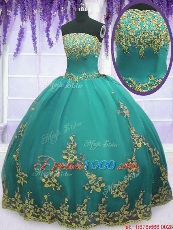 Fancy Aqua Blue Ball Gowns Strapless Sleeveless Tulle Floor Length Zipper Appliques 15 Quinceanera Dress