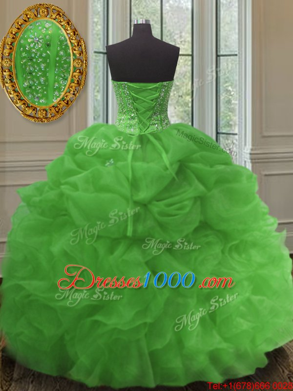 Organza Sleeveless Floor Length Quinceanera Dress and Beading and Embroidery