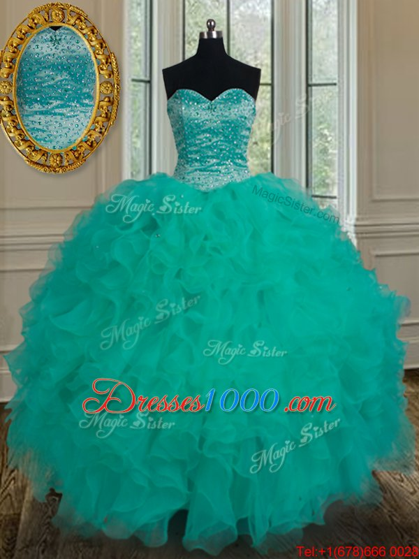 Attractive Turquoise Sleeveless Organza Lace Up Vestidos de Quinceanera for Military Ball and Sweet 16 and Quinceanera