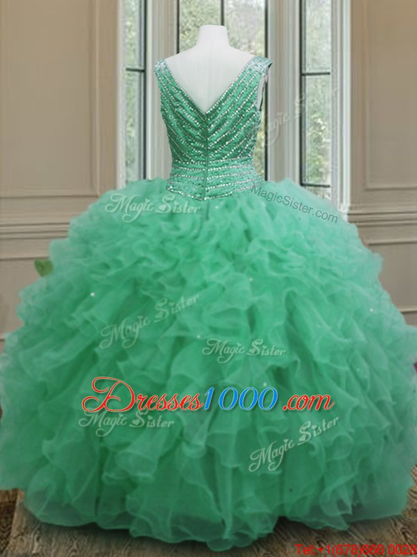 Apple Green Sleeveless Floor Length Beading and Ruffles Zipper Ball Gown Prom Dress