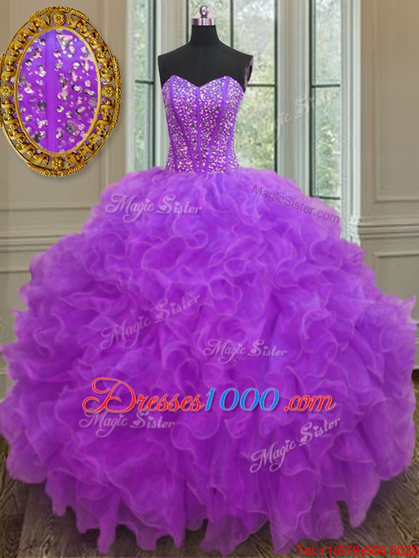 Fantastic Purple Quinceanera Dresses Military Ball and Sweet 16 and Quinceanera and For with Beading and Ruffles Sweetheart Sleeveless Lace Up