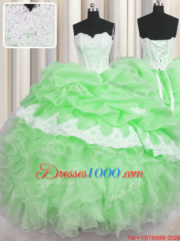 Sleeveless Organza Floor Length Lace Up Quinceanera Dress in for with Beading and Appliques and Ruffles and Pick Ups
