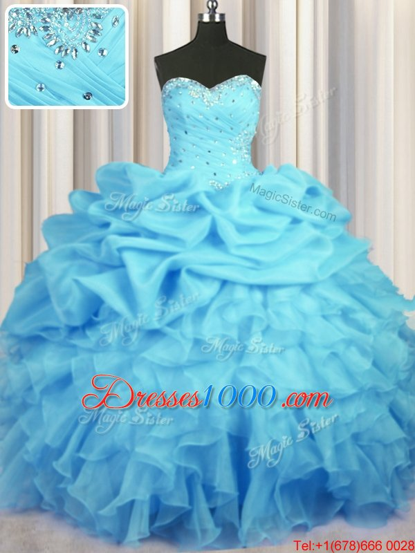 Simple Floor Length Lace Up Quinceanera Dress Baby Blue and In for Military Ball and Sweet 16 and Quinceanera with Beading and Ruffles and Ruching and Pick Ups