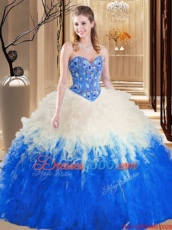 Tulle Sweetheart Sleeveless Lace Up Embroidery and Ruffles 15th Birthday Dress in Blue And White