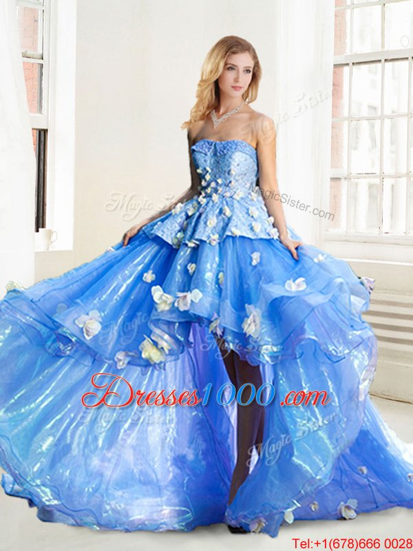 Blue Strapless Neckline Appliques Sweet 16 Quinceanera Dress Sleeveless Lace Up