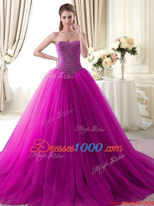 Custom Fit Sweetheart Sleeveless Brush Train Lace Up Quince Ball Gowns Fuchsia Tulle