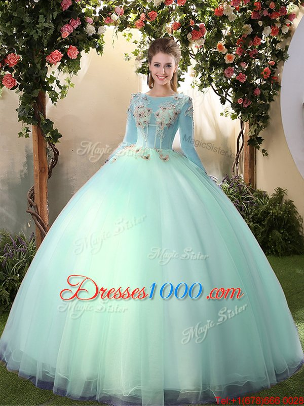 Sumptuous Scoop Apple Green Long Sleeves Appliques Floor Length Sweet 16 Dress