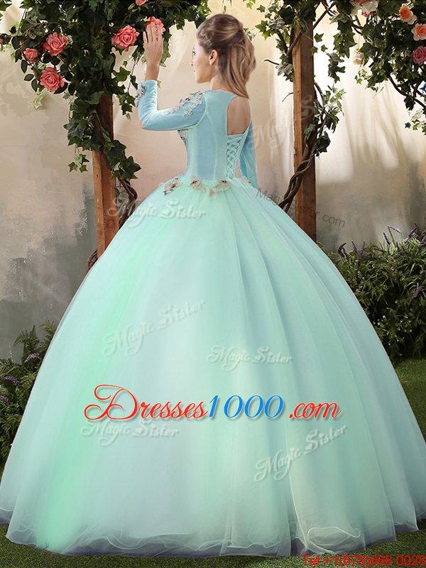 Sumptuous Scoop Apple Green Long Sleeves Appliques Floor Length Sweet 16 Dress