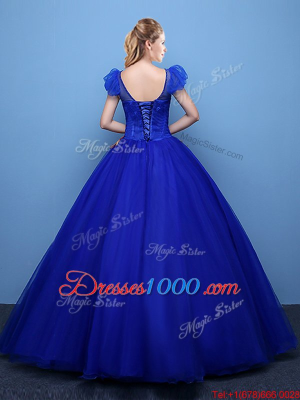 Great Royal Blue Ball Gowns Tulle Scoop Short Sleeves Appliques Floor Length Lace Up Ball Gown Prom Dress