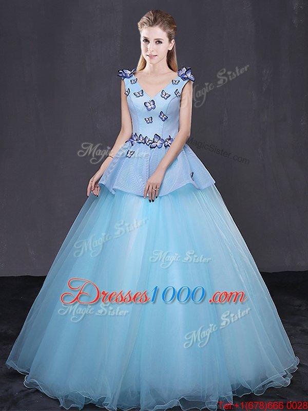 Cute Floor Length Ball Gowns Sleeveless Light Blue Vestidos de Quinceanera Lace Up