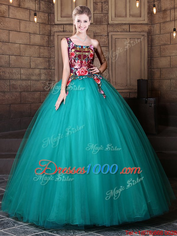 Ball Gowns 15 Quinceanera Dress Teal One Shoulder Tulle Sleeveless Floor Length Lace Up