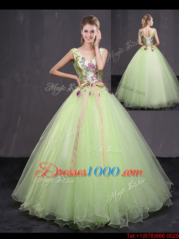 Yellow Green Tulle Lace Up V-neck Sleeveless Floor Length Quinceanera Gowns Appliques and Belt