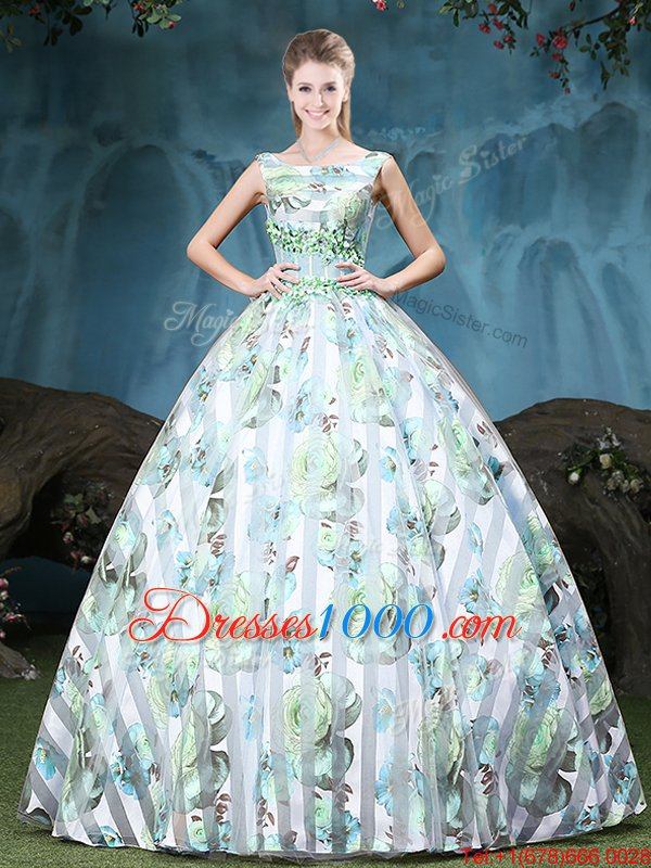 Straps Straps Multi-color Ball Gowns Appliques and Pattern Sweet 16 Quinceanera Dress Lace Up Tulle Sleeveless Floor Length