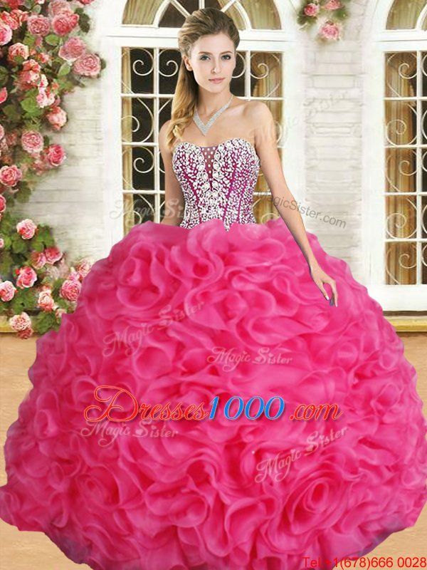 Hot Pink Quinceanera Dresses Military Ball and Sweet 16 and Quinceanera and For with Beading and Ruffles Sweetheart Sleeveless Lace Up