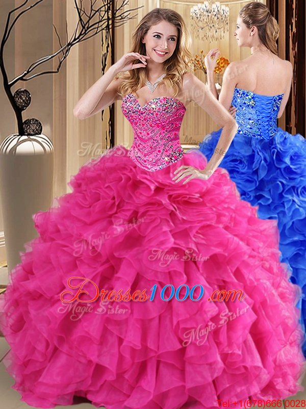 Fabulous Blue Ball Gowns Sweetheart Sleeveless Organza Floor Length Lace Up Embroidery and Ruffles Quinceanera Gown