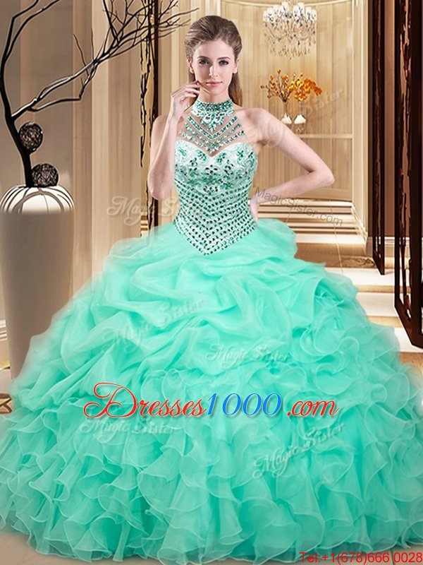Free and Easy Apple Green Halter Top Neckline Beading and Ruffles and Pick Ups 15th Birthday Dress Sleeveless Lace Up