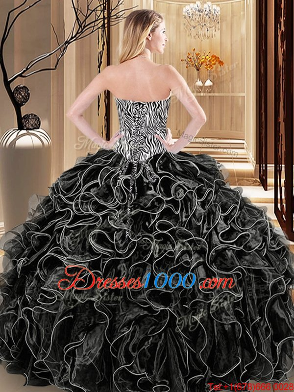 Charming Organza Sweetheart Sleeveless Lace Up Ruffles and Pattern 15 Quinceanera Dress in Black