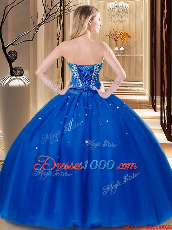 Royal Blue Ball Gowns Sweetheart Sleeveless Tulle Floor Length Lace Up Beading and Embroidery Quinceanera Gowns